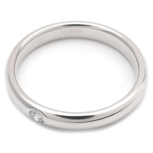 Harry Winston 950 Platinum with 0.04ct Diamond Round Marriage Ring Size 6.5