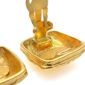 Chanel Coco Mark Gold Tone Hardware Matelasse Square Vintage Earrings