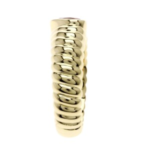 Tiffany & Co. 18K Yellow Gold with Pink Tourmaline Ribbed Friendship Ring Size 4.75