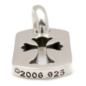 Chrome Hearts 925 Sterling Silver Cross Cut Out Dog Tag Pendant