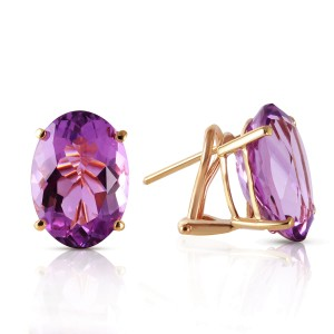 15.1 CTW 14K Solid Gold French Clips Earrings Natural Amethyst