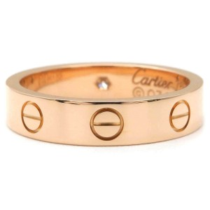 Cartier Mini Love Ring 18K Rose Gold 1P Diamond Size 4.75