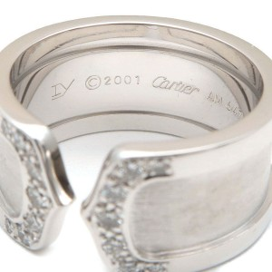 Cartier 2C Ring 18K White Gold with Diamond Size 7.25