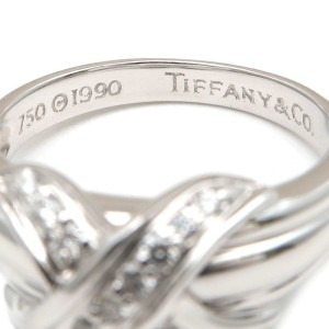 Tiffany & Co. 18K White Gold with Diamond Signature Ring Size 6.5
