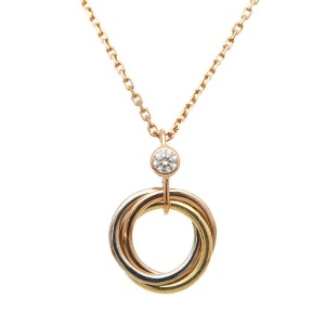 Cartier Trinity Necklace 18K Yellow, White and Rose Gold with Diamond