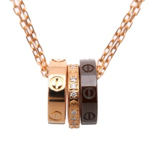 Cartier Love Three Hoop Necklace 18K Rose & Yellow Gold Ceramic with Diamond