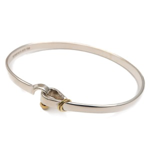 Tiffany & Co. 925 Sterling Silver and 18K Yellow Gold Hook and Eye Bangle Bracelet