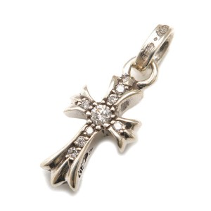 Chrome Hearts 925 Sterling Silver with Diamond Cross Charm