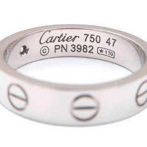 Cartier Mini Love Ring 18K White Gold with Diamond Size 4