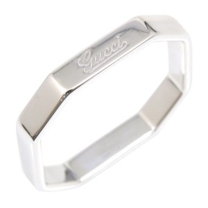Gucci 18K White Gold Octagonal Ring Size 5.25