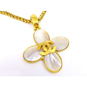 Chanel Gold Tone Shell Pendant Necklace