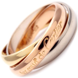 Cartier Trinity Ring 18k White, Rose and Yellow Gold Ring Size 6.5