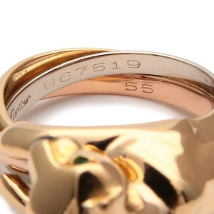 Cartier Trinity Panthere Ring 18k White, Rose and Yellow Gold Emerald, Onyx Size 7