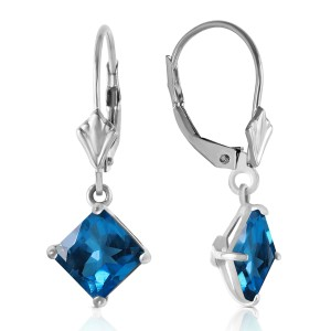 3.2 CTW 14K Solid White Gold Victoire Blue Topaz Earrings