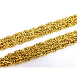 Chanel Gold Tone Triple Chain CC Necklace