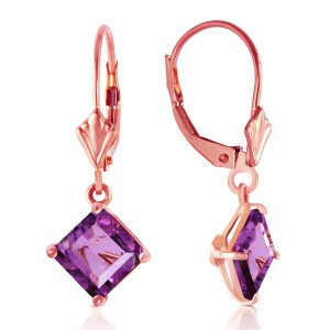 3.2 CTW 14K Solid Rose Gold Amethyst Simplicity Earrings
