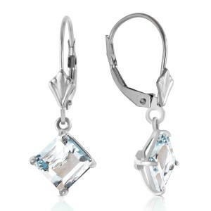 3.2 CTW 14K Solid White Gold Chattering Heart Aquamarine Earrings