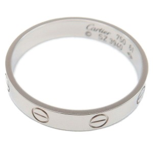 Authentic Cartier Mini Love Ring White Gold K18 #61 US6.5 HK21.5 EU61.5 Used F/S