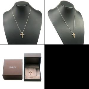 Auth DAMIANI Notte di San Lorenzo Cross Diamond Necklace 750PG×750WG Used F/S