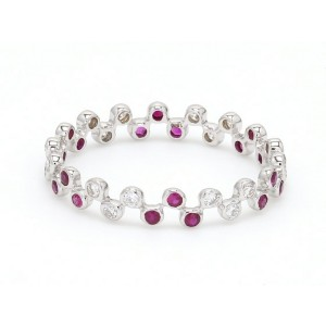 18K White Gold with 0.26ct.Ruby and 0.22ct. Diamond Band Ring Size 6.5