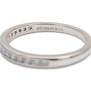 Auth Tiffany&Co. Half Circle Channel-set Diamond Ring PT950 US5 EU49 Used F/S