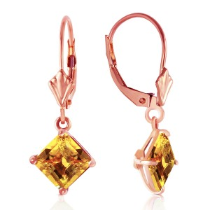 3.2 CTW 14K Solid Rose Gold Citrine Simplicity Earrings