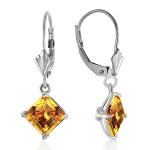 3.2 CTW 14K Solid White Gold Double Edged Citrine Earrings