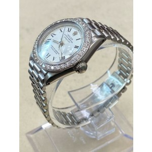 Rolex Ladies President Datejust 6917 18K White Gold Diamond Bezel