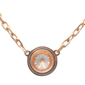 Auth Cartier Diamants Légers Necklace LM 1P Diamond 0.18ct Rose Gold Used F/S