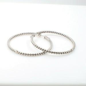 Inside Outside Round Brilliant Diamond Hoop 2'' Earrings 14K White Gold 7.00 tcw