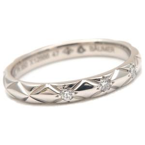 Authentic CHANEL Matelasse Ring Small 3P Diamond Platinum #47 US4 EU47 Used F/S