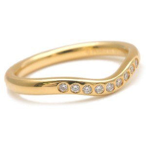 Auth Tiffany&Co. Curved Band Ring 9P Diamond Yellow Gold US4.5 EU48 Used F/S