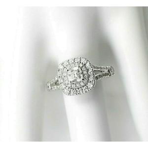 Celebration Cushion Diamond Engagement Ring Double Halo 1.20 tcw 18k White Gold
