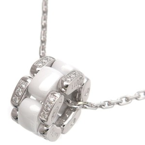 Auth CHANEL Ultra Collection Diamond Necklace White Ceramic K18WG Used F/S