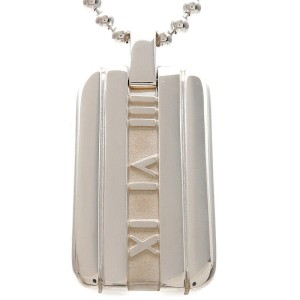 Authentic Tiffany&Co. Atlas Plate Necklace SV925 Silver Used F/S