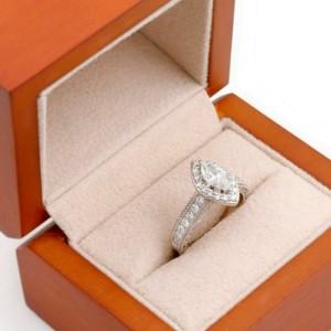 Marquise Diamond Halo Engagement Ring Milgrain Diamond Band 1.00 tcw 14kt WG