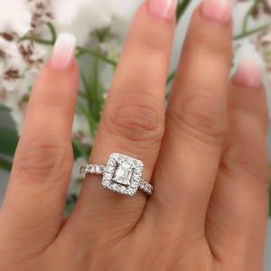 Neil Lane Diamond Engagement Ring Emerald Cut 1 375 Tcw I Si1 14k White Gold Neil Lane Buy At Truefacet