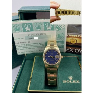 Rolex Date 15037 Blue Diamond Dial 14K Yellow Gold FORD Box Papers COLLECTIBLE