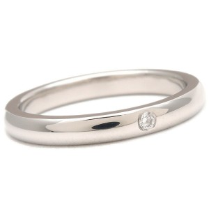 Authentic Tiffany&Co. Stacking Band Ring 1P Diamond Platinum US7 EU54.5 Used F/S