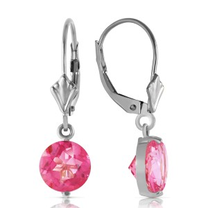 3.1 CTW 14K Solid White Gold Pink Fun Pink Topaz Earrings