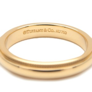 Auth Tiffany&Co. Milgrain Band Ring 3mm Yellow Gold US4.5 HK9.5 EU48 Used F/S