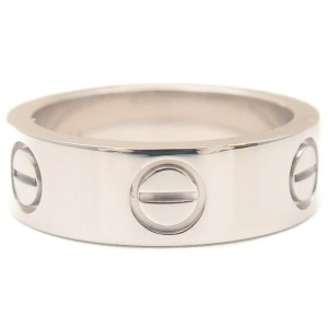 Authentic Cartier Love Ring 18K White Gold #48 US4.5 HK9.5 EU48 Used F/S
