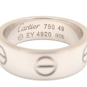 Authentic Cartier Love Ring 18K White Gold #49 US5 HK11 EU49.5 Used F/S