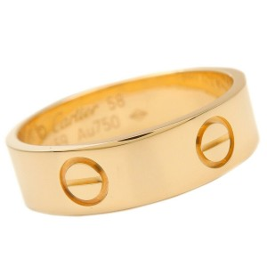 Authentic Cartier Love Ring K18 750 Yellow Gold #58 US8.5 HK19 EU58.5 Used F/S