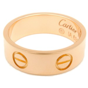 Authentic Cartier Love Ring K18 750 Rose Gold #49 US5 HK11 EU49.5-50 Used F/S