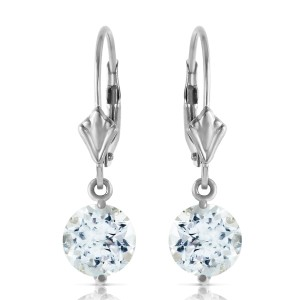 3.1 CTW 14K Solid White Gold Complacency Aquamarine Earrings