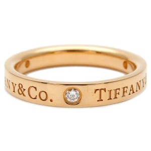 Authentic Tiffany&Co. Flat Band 3P Diamond Ring K18PG Rose Gold Used F/S