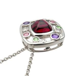 Authentic TASAKI Garnet Multi Color Stone Necklace K18WG 7.13ct 0.09ct Used F/S