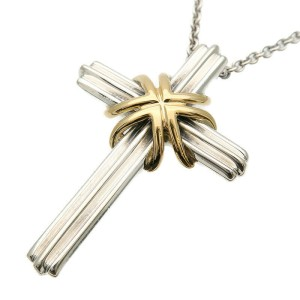 Authentic Tiffany&Co. Signature Cross Necklace SV925×750YG Silver Used F/S