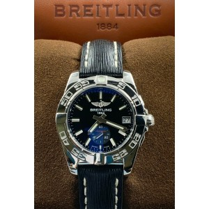 Breitling A3733012 Galactic Black Dial Stainless Bezel Leather Band Box Papers